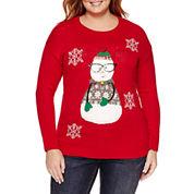 Tiara International Crew Neck Knit Pullover Sweater - Plus