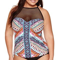 a.n.a  Tribal Beat High Neck Mesh Tankini or Mid-waist Hipster- Plus