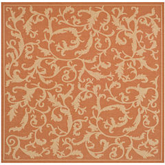 Courtyard Scrolls Indoor/Outdoor Square Rugs