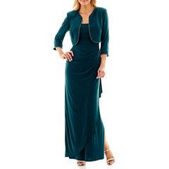 R&M Richards 3/4-Sleeve Rhinestone-Trim Long Jacket Dress