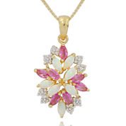 Lab Created Lab-Created Opal, Pink and White Sapphire Cluster Pendant Necklace