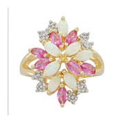 Lab-Created Opal, Pink and White Sapphire Cluster Ring