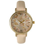 Olivia Pratt Womens Floral Dial Blush Strap Watch-15828
