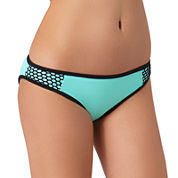 Arizona Colorblock Mesh Mint Hipster Swim Bottoms - Juniors