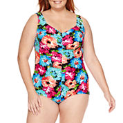 Azul by Maxine of Hollywood Floral One Piece Swimsuit Plus