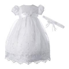 Keepsake® Christening Dress and Headband Set – Girls newborn-12m