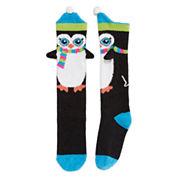 Penguin Fuzzy Knee High Sock