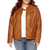 Jou Jou Center-Zip Pleather Jacket  - Juniors Plus