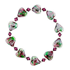Dazzling Designs™ Dark Pink & Green Glass Heart Bead Bracelet