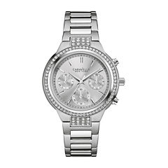 Caravelle New York® Womens Crystal-Accent Stainless Steel Bracelet Watch 43L186