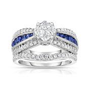 Harmony Eternally in Love 1 CT. T.W. Diamond & Blue Sapphire Ring Set