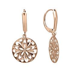 Infinite Gold™ 14K Rose Gold Cutout Disc Earrings