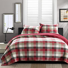 INK+IVY Maddox Red Plaid Quilt Set