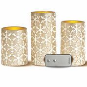 3 Piece Embossed Snowflake LED Flameless Candle Set