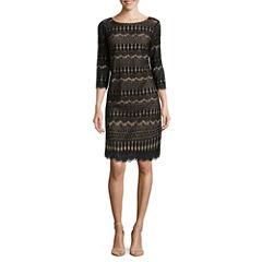 Ronni Nicole 3/4 Sleeve Fringe Lace Shift Dress