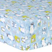 Trend Lab Snow Pals Blue Flannel Crib Sheet