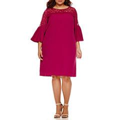 Boutique + 3/4 Sleeve Sheath Dress-Plus