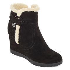 Liz Claiborne® Reston Faux-Fur Wedge Ankle Booties