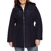 St. John's Bay® Quilted Zip-Front Long Puffer Coat - Plus