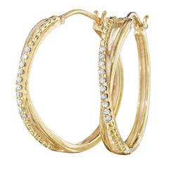 1/10 CT. T.W. Diamond 14K Yellow Gold Over Sterling Silver X-Hoop Earrings