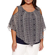 Alyx Short Sleeve Cold Shoulder Woven Overlay Blouse-Plus