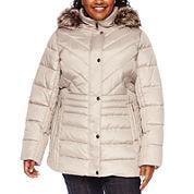 Liz Claiborne® Side-Panel Puffer Jacket with Faux-Fur Hood - Plus