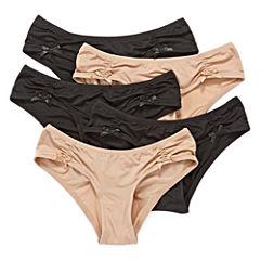 Flirtitude® 5-pk. Microfiber Ruched Hipster Panties