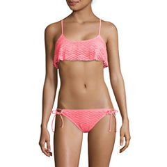 Arizona Mix & Match Coral Flounce Bralette Swim Top or Side-Tie Hipster Swim Bottom - Juniors