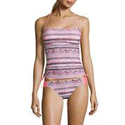 Arizona Mod Dream Coral-Print Tankini Swim Top or Coral Hipster Swim Bottoms