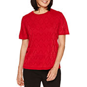 Alfred Dunner Wrap It Up Short Sleeve Crew Neck Pullover Sweater
