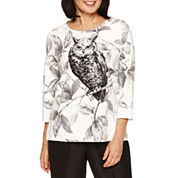 Alfred Dunner 3/4 Sleeve Owl Print Top