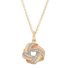 Womens 1/8 CT. T.W. White Diamond 10K Gold Pendant Necklace