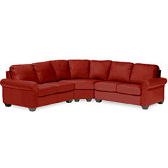 Leather Possibilities Roll-Arm 3-pc. Loveseat Sectional