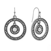 Liz Claiborne Gray and Hematite Drop Orbital Earrings