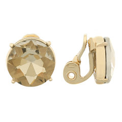 Monet Jewelry Brown And Goldtone Stud Clip Earring