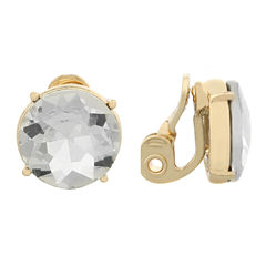 Monet Jewelry Clear And Goldtone Stud Clip Earring