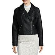 BELLE + SKY™ Faux-Leather Moto Jacket