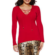 Bisou Bisou® Multi-Zip Moto Jacket, 3/4 Sleeve V Neck Lace Up Rib Sweater & Foil Print Leggings