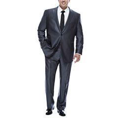 J.Ferrar Gray Luster Herringbone-Big and Tall Suit Separate