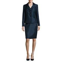 Le Suit ® Long Sleeve 3 Button Jacket Skirt Suit