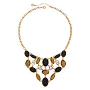 Monet® Black and Topaz-Look Stone Gold-Tone Bib Statement Necklace