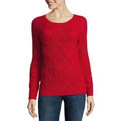Liz Claiborne Long Sleeve Crew Neck Pullover Sweater-Petites