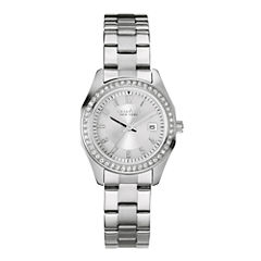 Caravelle New York® Womens Crystal-Accent Stainless Steel Bracelet Watch 43M108