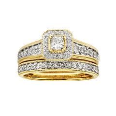 1 CT. T.W. Certified Diamond 14K Yellow Gold Bridal Ring Set
