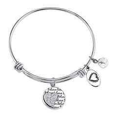 Footnotes Too® Stainless Steel Follow Your Heart Expandable Bangle