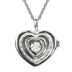Love in Motion™ 1/10 CT. T.W. Diamond Sterling Silver Heart Locket Pendant Necklace