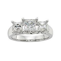 Diamonore™ 1¾ CT. T.W. Simulated Diamond Princess-Cut 3-Stone Ring