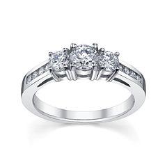 Diamonore™ 1 CT. T.W. Simulated Diamond Round 3-Stone Ring