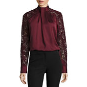 Worthington Long Sleeve Mock Neck Woven Blouse
