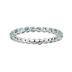 Personally Stackable Genuine Aquamarine Sterling Silver Eternity Ring